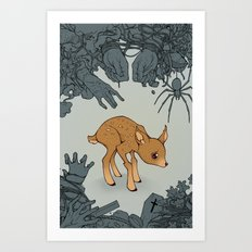 Deer in the Headlights Art Print