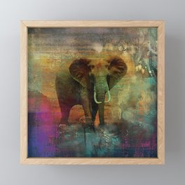Abstract Grunge Elephant Digital art Framed Mini Art Print
