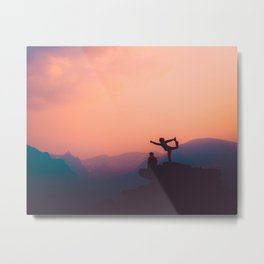 Forest Fire Sunset Metal Print