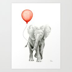 Baby Elephant Watercolor Red Balloon Nursery Decor Art Print