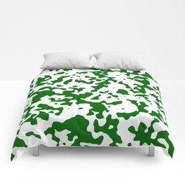 Spots - White and Dark Green Comforters