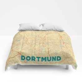 Dortmund Map Retro Comforters