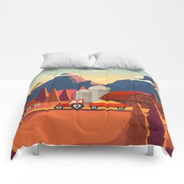 Rural Farmland Countryside Landscape Illustration Comforters