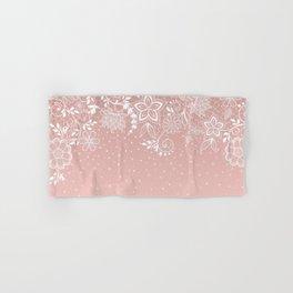 Elegant white lace floral and confetti design Hand & Bath Towel