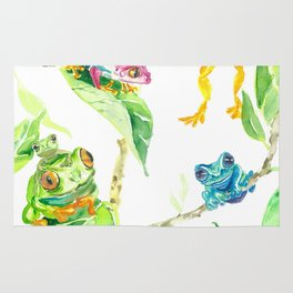 Happy tree frogs Rug