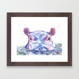 Happy Hippo Fiona Framed Art Print