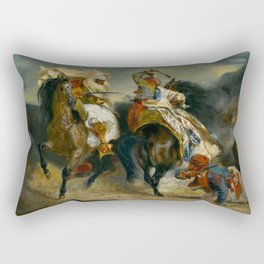 "Eugène Delacroix ""The Combat of the Giaour and Hassan"" Rectangular Pillow"