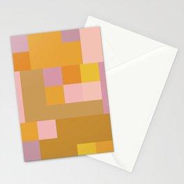 Modern Vintage Patchwork Squares in Lavender, Lilac, Mustard, and Orange Stationery Cards
