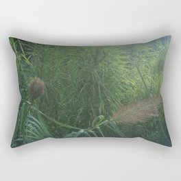 Morning Dew On Cattails Rectangular Pillow