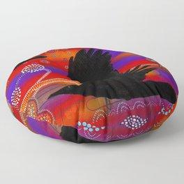 Sunset on Lake Wendouree - Australian Aboriginal Art Theme Floor Pillow