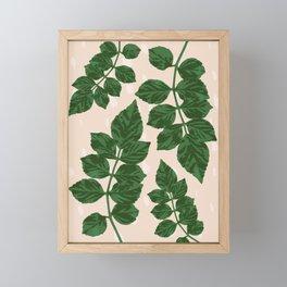 Sweet Leaf Motif on spotted peach Framed Mini Art Print