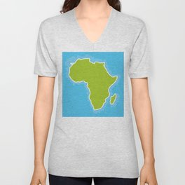 map of Africa Continent and blue Ocean. Vector illustration Unisex V-Neck