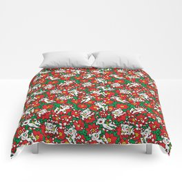 Christmas Poinsettia Candy Cane Deer Comforters
