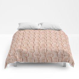 Ecru Knit Textured Pattern Comforters