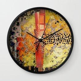 Orange Gold Burst Abstract Art Collage Wall Clock