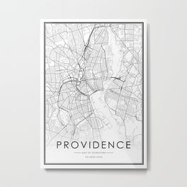 Providence City Map United States White and Black Metal Print