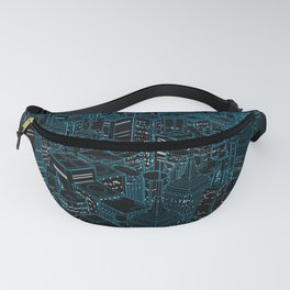 Night light city / Lineart city in blue Fanny Pack