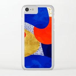Terrazzo galaxy blue night yellow gold orange Clear iPhone Case