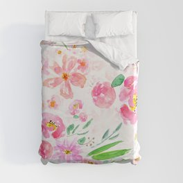 pink flowers and green leaf pattern  Duvet Cover