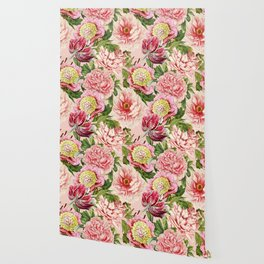 Vintage & Shabby Chic Floral Peony & Lily Flowers Watercolor Pattern Wallpaper