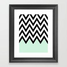 Mint Piece Chevron Framed Art Print