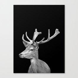 Deer Black Canvas Print