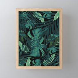Tropical Jungle Night Leaves Pattern #1 #tropical #decor #art #society6 Framed Mini Art Print