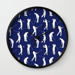 Golfers // Midnight Blue Wall Clock