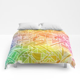 Bright Gradient (Hot Pink Orange Green Yellow Blue) Geometric Pattern Print Comforters