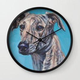 Azawakh sighthound dog portrait art from an original painting  by L.A.Shepard Wall Clock