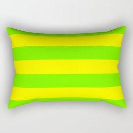 Bright Neon Green and Yellow Horizontal Cabana Tent Stripes Rectangular Pillow