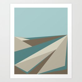 Geometric Plane - Blue Neutral Art Print