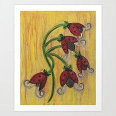 Ladybug Flowers Art Print