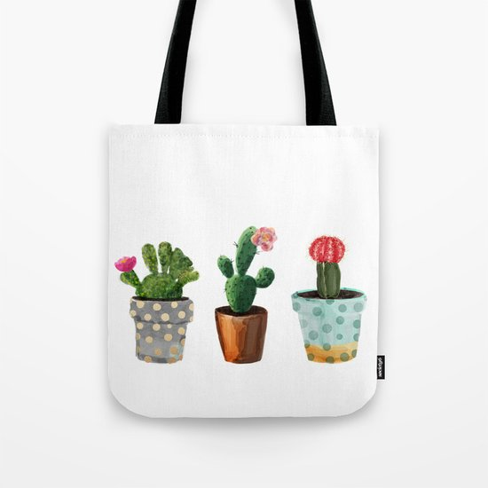 Three Cacti With Flowers On White Background Tote Bag