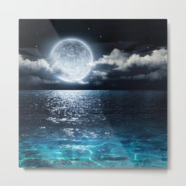 Full Moon over Ocean Metal Print