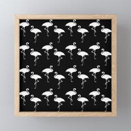 Flamingos Black and White Pattern Framed Mini Art Print
