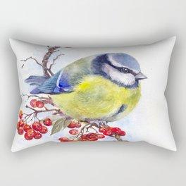 Watercolor Titmouse Great tit winter bird Rectangular Pillow