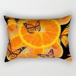 ORANGES & MONARCH BUTTERFLIES ON BLACK Rectangular Pillow