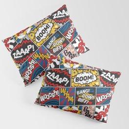 Modern Comic Book Superhero Pattern Color Colour Cartoon Lichtenstein Pop Art Pillow Sham