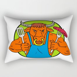 Bull Holding Barbecue Sausage Drawing Color Rectangular Pillow