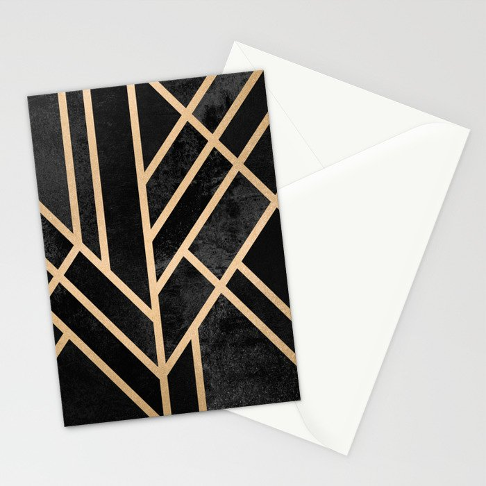 Art Deco Black Stationery Cards