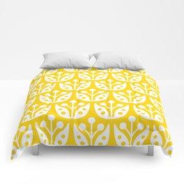 Mid Century Flower Pattern Yellow Comforters