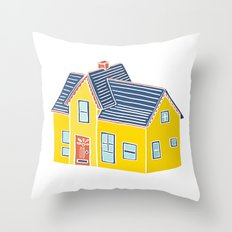 Little Yellow House with a Big Porch Throw Pillow