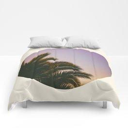 Sunset Purple Palm Tree Circle Photo Comforters