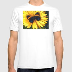 Butterfly on yellow Mens Fitted Tee White MEDIUM