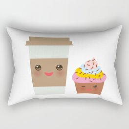 coffee in Paper thermo cup with brown cap and cup holder, chocolate cupcake. Kawaii Rectangular Pillow