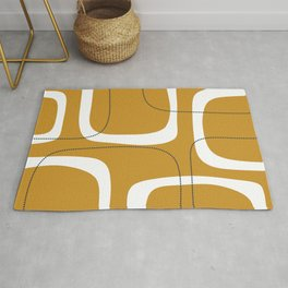 Retro Loops and Dots Midcentury Modern Pattern in Mustard Gold, White, and Navy Blue Rug