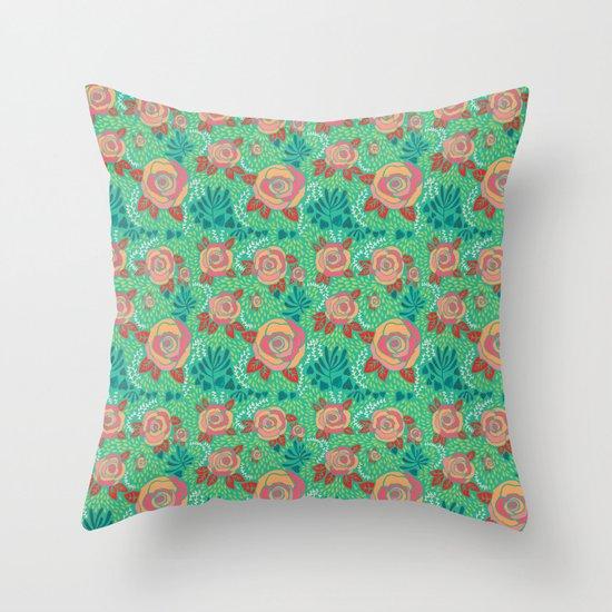 Pink Roses Throw Pillow