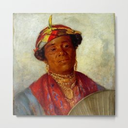 African American Masterpiece 'Woman with Gold Necklaces' by Helen Watson Phelps Metal Print