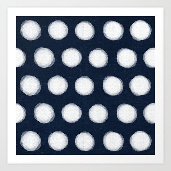 painted polka dots- navy and white Art Print